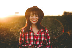 Portrait of woman in countryside Stock Images