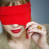 Portrait of a woman with covered eyes Royalty Free Stock Photography