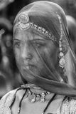 Portrait of woman with covered face. Portrait of a woman with her head and face covered with ghunghat (veil) in Pushkar, Rajathan, India Royalty Free Stock Photo