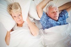 Portrait of woman covering ears from snoring husband. Portrait of women covering ears from snoring husband on bed at home Stock Images