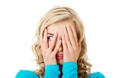 Portrait of a woman covering eyes Royalty Free Stock Photo