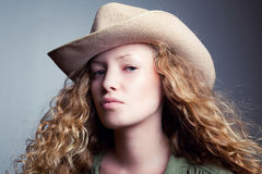 Portrait of a woman in a cowboy hat Royalty Free Stock Photo
