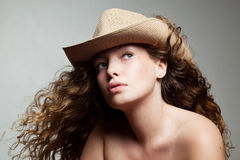 Portrait of a woman in a cowboy hat Royalty Free Stock Images