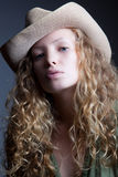 Portrait of a woman in a cowboy hat Royalty Free Stock Photos