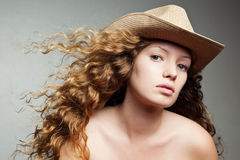 Portrait of a woman in a cowboy hat Royalty Free Stock Image