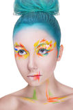 Portrait of a woman with creative colorful makeup Royalty Free Stock Images