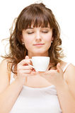 Portrait of woman with cup Royalty Free Stock Photo