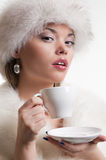 Portrait of woman with cup of coffee. Portrait of alluring woman with cup of coffee Royalty Free Stock Photos