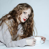 Portrait woman with a cup of coffee Royalty Free Stock Photo