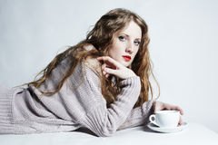 Portrait woman with a cup of coffee Royalty Free Stock Images