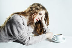 Portrait woman with a cup of coffee Stock Photo