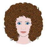 Portrait of woman with curly brown hair colored Royalty Free Stock Photo