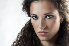 Portrait of woman with curly hair Royalty Free Stock Images