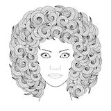 Portrait of woman with curly hair black and white Stock Photo