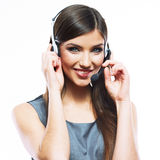 Portrait of woman customer service worker, call center smiling o Stock Photos