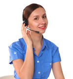 Portrait of woman customer service worker, call center smiling operator with phone headset isolated on white background Royalty Free Stock Image