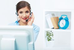 Portrait of woman customer service worker, call center smiling. Operator with phone headset. Young female business model royalty free stock photo