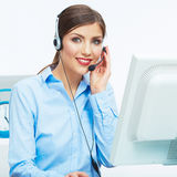 Portrait of woman customer service worker, call center smiling Royalty Free Stock Images