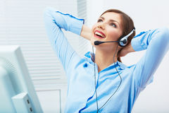 Portrait of woman customer service worker, call center smiling Stock Images