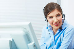 Portrait of woman customer service worker, call center smiling Royalty Free Stock Photo
