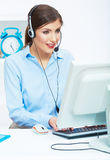 Portrait of woman customer service worker, call center smiling Stock Photos