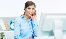 Portrait of woman customer service worker, call ce Royalty Free Stock Images