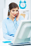 Portrait of woman customer service worker, call center smiling Royalty Free Stock Image