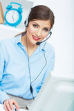 Portrait of woman customer service worker, call ce Stock Photo