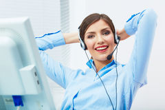 Portrait of woman customer service worker, call ce Royalty Free Stock Image