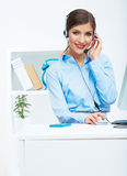 Portrait of woman customer service worker, call center smiling Stock Photography