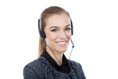 Portrait of a woman customer service worker. Close-up. Stock Images