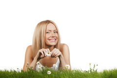Portrait of woman with daisies Royalty Free Stock Photos