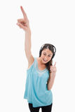 Portrait of a woman dancing while listening to music Royalty Free Stock Photo