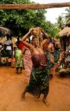 Portrait of woman dancing woodoo dance, Anfoin, Togo stock photography