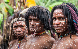 Portrait of Woman Dani tribe in ritual coloring on the body and face. Stock Photography