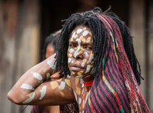 Portrait of Woman Dani tribe in ritual coloring on the body and face. Stock Images
