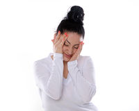 The portrait of a woman with different emotions isolated Royalty Free Stock Photo