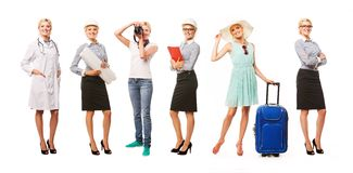 Portrait of woman with different profession Stock Images