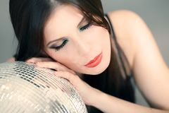 Portrait of a woman with Disco ball Royalty Free Stock Photo