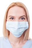 Portrait of a woman doctor wearing mask Royalty Free Stock Images