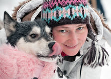 Portrait of woman with a dog stock photos