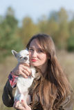 Portrait of a woman with dog Royalty Free Stock Photo
