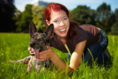 Portrait of woman with dog in park. Portrait of smiling woman with happy dog in park Stock Photos