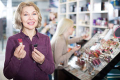 Portrait of woman doing shopping Royalty Free Stock Image