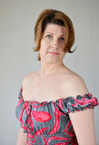 Portrait of  woman in a dress with bare shoulders Stock Photography