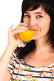 Portrait of woman with drinking Royalty Free Stock Images