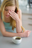 Portrait of woman drinking coffee in the morning Stock Photos