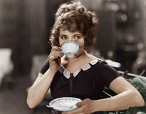 Portrait of woman drinking from teacup Royalty Free Stock Image