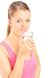 Portrait of a woman drinking water from a glass Royalty Free Stock Image