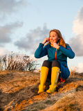 Portrait of woman  in dune landscape Stock Photography